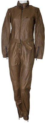 Porsche Design Khaki Leather Jumpsuit for Women