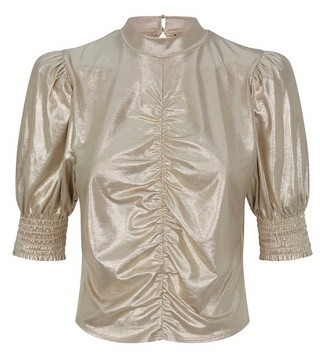 Dorothy Perkins Womens Gold Ruched Front Top, Gold