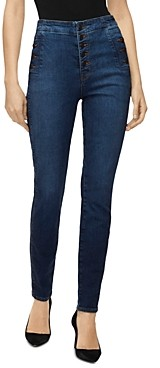 J Brand Natasha Button-Fly Sky-High Skinny Jeans in Equalize
