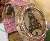 New Crystal Eiffel Tower Lady Women Girl Pink Leather Quartz Wrist Watch Gift