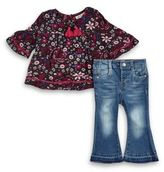 Jessica Simpson Size 3T 2-Piece Floral Top and Denim Pant Set