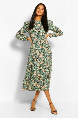 boohoo Floral Frill Front Smock Dress