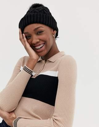 Asos Design DESIGN cable knit faux fur pom beanie-Black