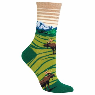 Hot Sox Women's Moose Mountain Scene Crew Casual Sock