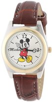 Disney Mickey Mouse Women's MCK613 Moving Hands Brown Strap Watch