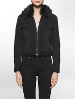 Calvin Klein Faux Fur Collar Trucker Jacket