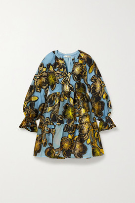 Stine Goya Ivana Tiered Metallic Floral-jacquard Mini Dress - Light blue