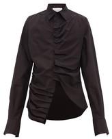 Bianca Saunders - Ruched Placket Cotton Poplin Shirt - Mens - Black