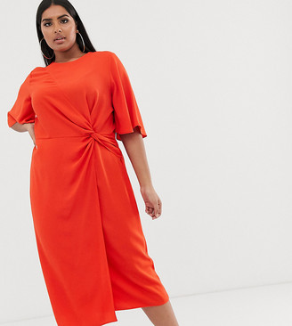 Asos DESIGN Curve twist front midi dress with angel sleeve