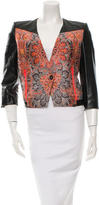 Helmut Lang Leather-Trimmed Printed Jacket w/ Tags