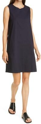 Eileen Fisher Zip Neck Stretch Organic Cotton Dress