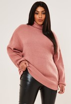 Missguided Plus Size Premium Rose Roll Neck Boyfriend Jumper