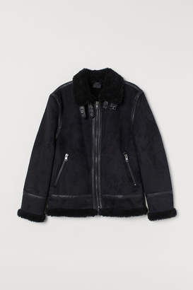 H&M Faux Shearling-lined Jacket - Black