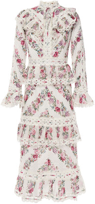 Zimmermann Honour Guipure Lace-trimmed Tiered Floral-print Cotton Midi Dress