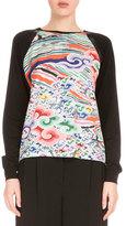 Mary Katrantzou Raglan-Sleeve Printed-Front Sweater, Rainbow Cloud