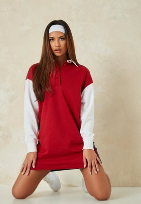 Missguided Red Color Block Rugby Shirt Dress