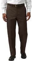 Classic Men's Regular Pre-hemmed Plain Front Traditional Fit Blend Twill Pants-True Navy