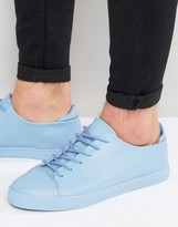 Asos Lace Up Sneakers In Pastel Blue Block
