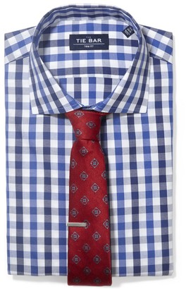 The Tie Bar Navy Large Two Color Gingham Non-Iron Shirt