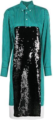 Plan C Sequin-Panelled Shirt Dress