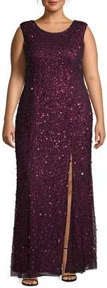 Adrianna Papell Plus Beaded Evening Gown