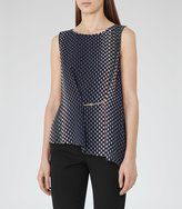 Reiss Eames - Printed Sleeveless Top in Blue, Womens