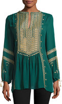 Calypso St. Barth Zandy Embroidered Top, Bottle Green
