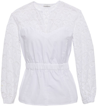 Sandro Broderie Anglaise-paneled Gathered Cotton-poplin Peplum Blouse