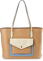 Neiman Marcus Hayden Colorblock Leather Tote Bag, British Tan/Bone/French Blue