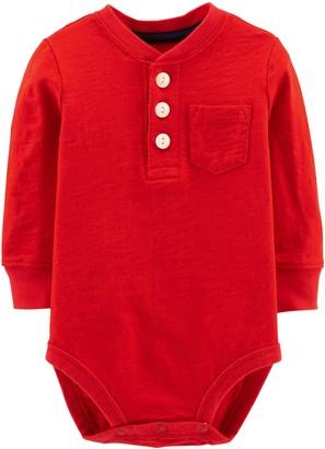 Osh Kosh Baby Boys' Pocket Henley Bodysuits