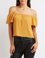 Charlotte Russe Textured Off-The-Shoulder Top