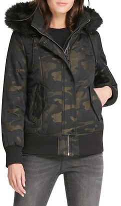 DKNY Faux Fur-Trim Hooded Bomber