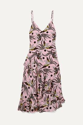 Kenzo Ruffled Printed Silk-crepe Midi Dress - Pastel pink
