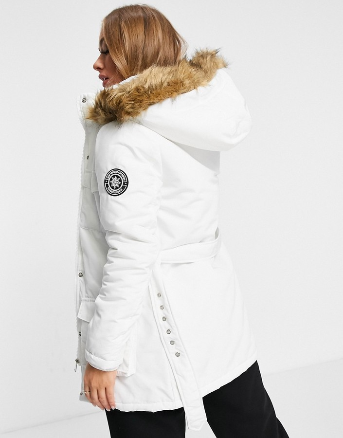 Thumbnail for your product : Brave Soul pam pocketed coat with faux fur trim hood