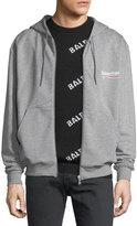Balenciaga Campaign Logo Zip-Front Hoodie