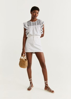 MANGO Ruffled embroidered blouse white - 2 - Women