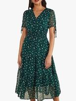 Yumi Ditsy Daisy Ruched Midi Dress, Green