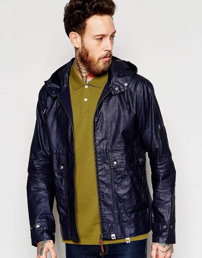 Pretty Green Lightweight Jacket In Wax Coated Linen