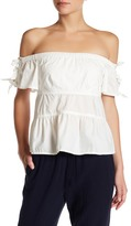 Rebecca Taylor Off-the-Shoulder Pop Tie Shirt