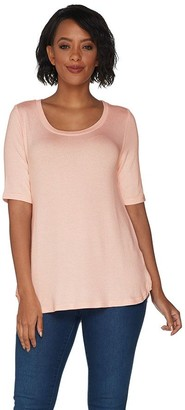 Halston H by Super Soft Knit Elbow Sleeve Top W/ Curved Hem