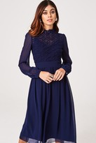 Little Mistress Sacha Navy Crochet Lace Long-Sleeve Midi Dress