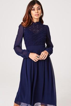 Little Mistress Sacha Navy Crochet Lace Long-Sleeve Midi Dress