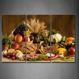 First Wall Art Brown Fresh Food Grape Apple Fruit In Basket Bread Oion Little Tomato Sweet Pepper Cauliflower Wheat Gather On The Table Wall Art Painting The Picture Print On Canvas Food Pictures For Home Decor Decoration Gift