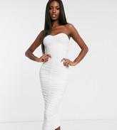 Club L London Tall bandeau ruched midi dress in white