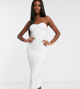 Club L London Tall bandeau ruched midi dress in white