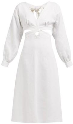 Ephemera - Cut Out Panel Linen Midi Dress - Womens - Ivory