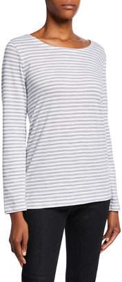 Eileen Fisher Plus Size Striped Organic Cotton Slub Long-Sleeve Box Tee