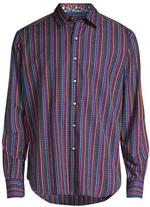 Robert Graham Classic-Fit Calvert Long-Sleeve Multicolor Stripe Egyptian Cotton Shirt