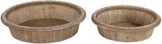 Uma Enterprises Set Of 2 Round Natural Solid Wood Trays
