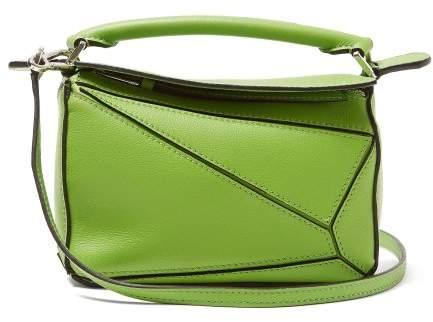 Loewe Puzzle Mini Grained Leather Cross Body Bag - Womens - Green